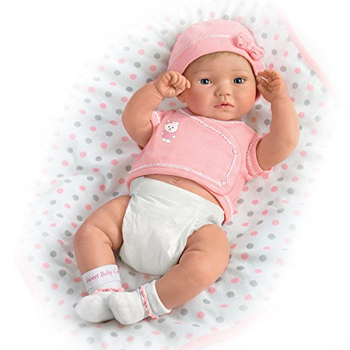 The Ashton - Drake Galleries Lifelike Newborn Baby Girl Doll by P Lau Includes Blanket and More (Pink)