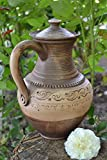 Beautiful Handmade Designer Large Clay Water Jug with Handle and Lid 3 L - Great Gift Idea by MadeHeart