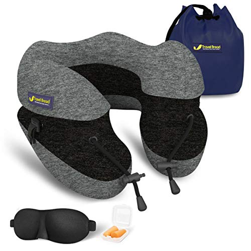 Travel Bread Travel Neck Pillow, 100% Pure Memory Foam U-Shaped Adjustable Travel Pillow for Airplane Travel, Ergonomic Head Neck Chin Support Travel Sleeping Pillow, Portable Travel Accessories(Grey)