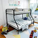 HCHDMENT Twin-Over-Full Bunk Bed with Metal Frame Ladder and Safety Rails, Black