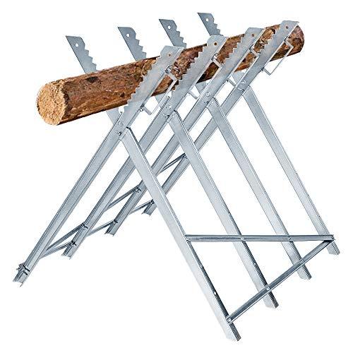 HENGMEI Sägebock Holzsägebock Stahl 83x83x79cm Zusammenfaltbar 100kg Belastbarkeit für Sägegestell Holzsägebock Säge Kettensägebock