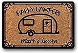 BXBCASEHOMEMAT Happy Camper Doormat - Personalized RV Sign - Custom Welcome Mat - RV Camper Gift - Decor for Camper - RV Camper Decor - Outdoor Welcome Mat 23.6' x 15.7'
