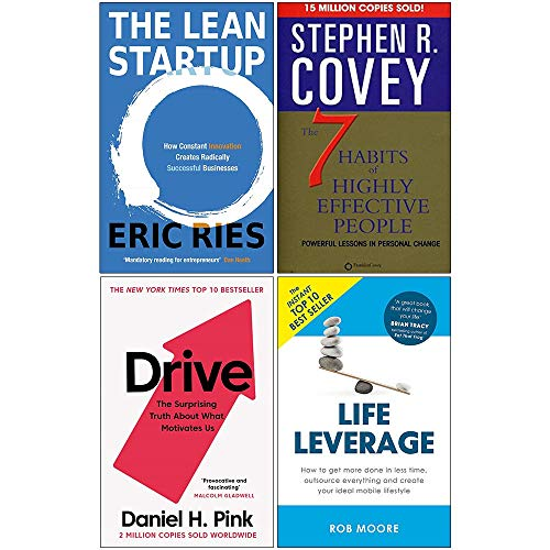 Price comparison product image Lean Startup,  7 Habits of Highly Effective People,  Drive Daniel Pink,  Life Leverage 4 Books Collection Set