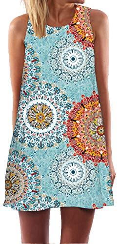 Ocean Plus Damen Sommer Ärmellos Bunt Tops Kleider Pfau Blumen Strandkleider Eule Kurz A Linie Kleid Cover Up (XXL (EU 42-44), Blaues Blumenrad)