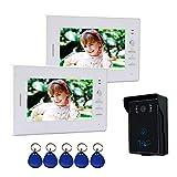 Nudito Kit Interphone avec 2 moniteurs de 7 Pouces pour la Maison. Visiophone Filaire (2 X Moniteurs...