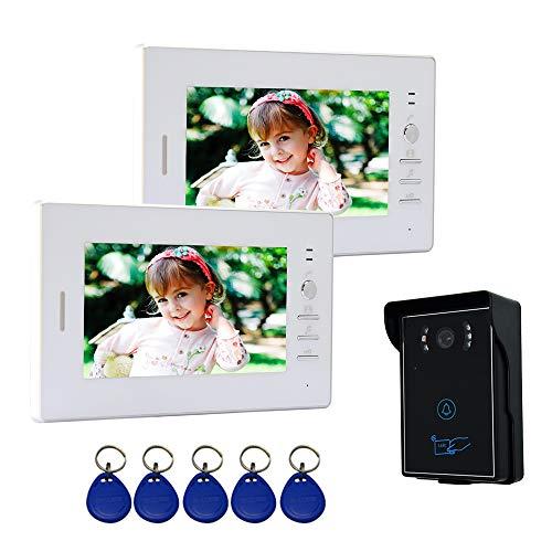 """Nudito Kit Videoportero con 2 Monitores de 7"""". Interfono para Casa (2 Pantallas LCDs, 1 Cámara Infrarroja Exterior Impermeable con Visión Nocturna y Alarma Antirrobo. Desbloqueo con Tarjetas RFID)"""