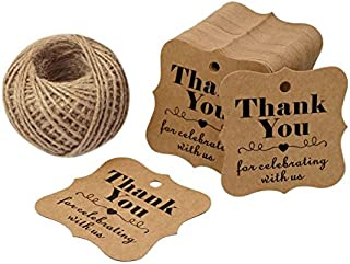 Baby Shower Tags for Favors,Thank You for Celebrating with Us Paper Gift Tags,100 Pcs Kraft Thank You Tags for Wedding Party Favors with 100 Feet Natural Jute Twine (Brown)