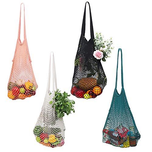 Einkaufstasche (4 Stk) - Einkaufsnetze bis 15kg– Wiederverwendbare Netzbeutel aus Baumwolle Einkaufsbeutel Netztasche Baumwollbeutel für Einkäufe, Supermarkt, Kleidung, Aufbewahrung, Obst, Gemüse