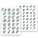 QBIX Plantilla de letras decorativas – Tamaño A3 – Altura de letras 3 – 4 cm – Reutilizable, apta para niños – Plantilla DIY