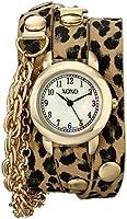 クスクス XOXO Women's XO5624 Cheetah Patterned Band with Chains Accent Double Wrap Watch [並行輸入品]