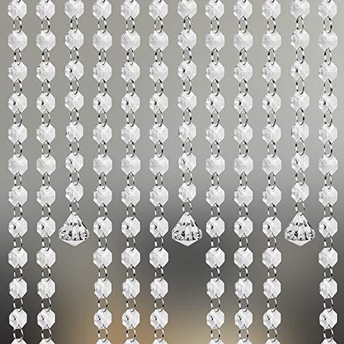 LAITER 6 Piezaz Cadenas de Cristal Acrílico Cuentas de Cristal Guirnalda Guirnalda de Perlas con Anillas Abierta Decoraciones de Cortina Candelabro Puerta Fiesta Boda DIY (1m)