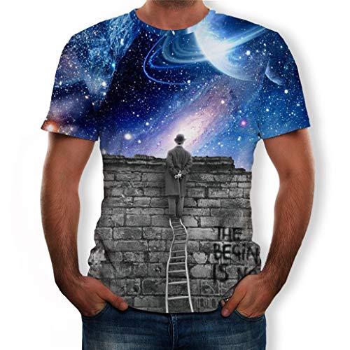 Yowablo T-Shirt Homme Summer New Full 3D Imprimé Plus Size S-3XL Cool Impression Top Blouse (M,12 Bleu)