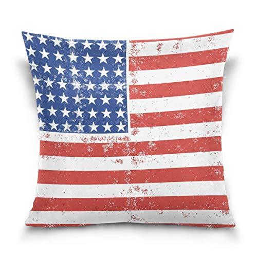 Asekngvo Throw Pillow Case Funda de cojín Decorativa Funda de Almohada Cuadrada, Funda de Almohada para sofá Cama de Acuarela de Bandera Americana Grunge con Rayas de Estrellas