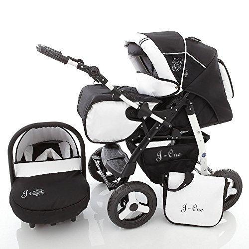 Chilly Kids J1 4 in 1 Pushchair combinatie (stoel en ISOFIX basis, regenhoes, muggennet 07 kleuren) 01 peper en zout