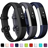 GEAK Compatible with Fitbit Alta and Fitbit Alta HR Band, Soft Classic Accessories Sport Bands Compatible for Fitbit Alta HR/Fitbit Ace,Black Gray Navy,Small