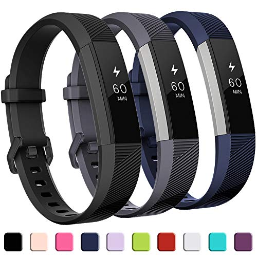 GEAK Compatible with Fitbit Alta and Fitbit Alta HR Band, Soft Classic Accessories Sport Bands Compatible for Fitbit Alta HR/Fitbit Ace,Black Gray Navy,Large