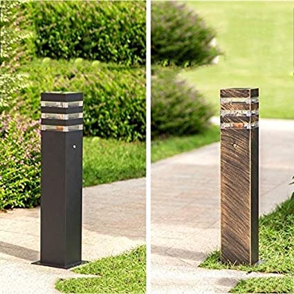 QTRT Square Aluminum Metal Driveway Ground Floor Lawn Landscape Lighting E27 Rainproof Outdoor Column Lamp Pillar Lantern Classic IP65 Waterproof Garden Post Bollard Light High Pole Lamp