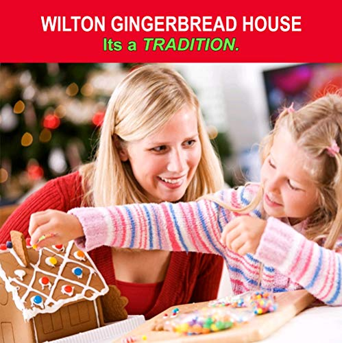 Gingerbread House Kit - BIG! Christmas Traditional Gingerbread House Decorating Kit, Pre-assembled - Includes Ready House, 3 Types of Candies, White Icing, Decorating Bag & Tip. Bundled With (4) SEWANTA Candy Cup Holder