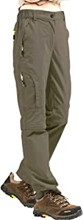 Hiking Pants Women, UPF 50 Stretch Quick Dry Lightweight Convert to Shorts Cargo Pants with Belt