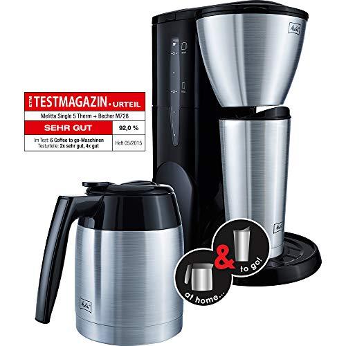 Melitta M728 bk SST Single5 Therm Kaffeefiltermaschine u. Thermbecher -Tropfstopp schwarz/Edelstahl