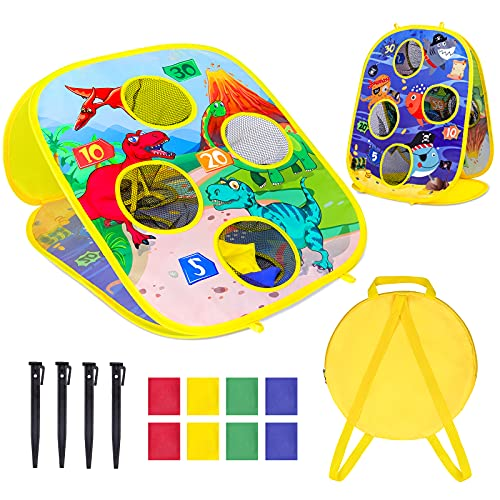 Bean Bag Toss Game Toy for Kids,Jaolex Collapsible Double Sided Cornhole Board Target Game Set,Dinosaur & Marine Animals Themes Bounce Bean Bag Indoor Outdoor Game for Toddlers Age 3-8 Year Old