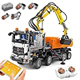 JW-YZWJ Coche de Juguetes de Bloques de construcción montados, Bloques de construcción de 2.4GHz Control Remoto motorizado Carro neumático motorizado, Compatible con tecnología Lego
