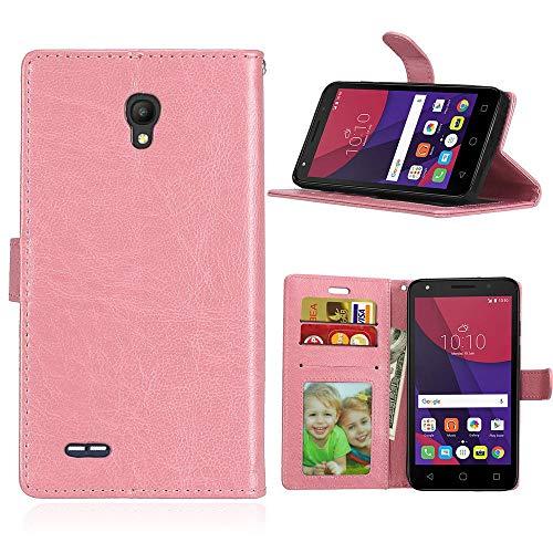 JEEXIA® Funda para Alcatel OneTouch Go Play, Moda Business Flip Wallet Case Cover PU Cuero con Soporte Cubierta Protectora - Rosa