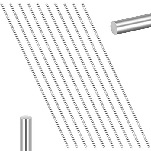 Favordrory 10 Pieces 304 Stainless Steel 2mm x 150mm Model Straight Metal Round Shaft Rods, Lathe Bar Stock for Toy Car Helicopter Airplane