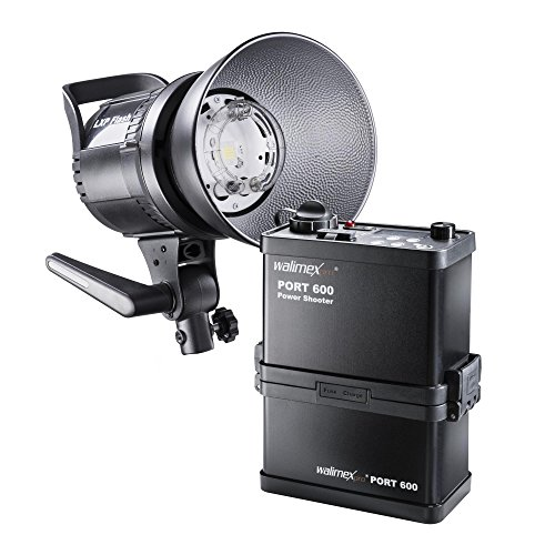 Walimex pro Power Shooter 600 Kofferset – Set aus LXP Blitz mit LED Einstelllicht, PowerShooter 600 mit Akku (8.000 mAh), Ladegerät und...