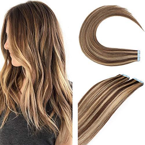 "12""(30cm) SEGO Extensiones Adhesivas de Cabello Natural Sin Clip 2g*10pcs #4/27 Castaño Chocolate/Rubio Oscuro 100% Remy Pelo Humano Tape in Hair Extensions (20g)"