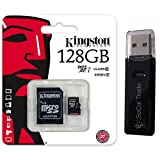 Kingston 128GB MicroSD XC Class 10 UHS-1 TF MicroSDHC TransFlash 45MB/s Read High Speed Memory Card SDC10G2/128GB with SD Adapter and USB 2.0 SoCal Trade Dual Slot MicroSD & SD Memory Card Reader