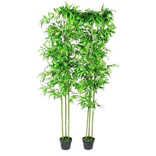 mewmewcat Kunstbambus künstlicher Bambus Kunstbaum Kunstpflanze künstlicher Pflanzen Deko Bambus Home Kunstpflanzen 190cm Bambusbaum