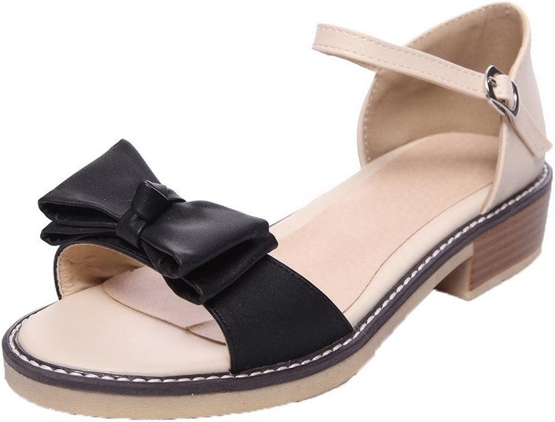 AmoonyFashion Women's Pu Open-Toe Low-Heels Buckle Assorted color Sandals, BUTLT006684