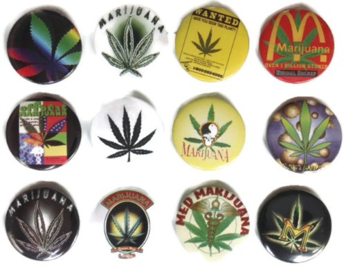 MARIJUANA Marihuana Grass #6 Impresionante calidad lote 12 nuevo pin botón insignia 3,2 cm