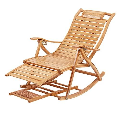 ロッキングチェア 折りたたみ リクライニングチェア 5段階調節 リラックスチェア竹製 1人掛け アンティーク レジャー用 揺れる椅子 おしゃれ リビング デッキチェア アームチェア 仮眠ラウンジチェア