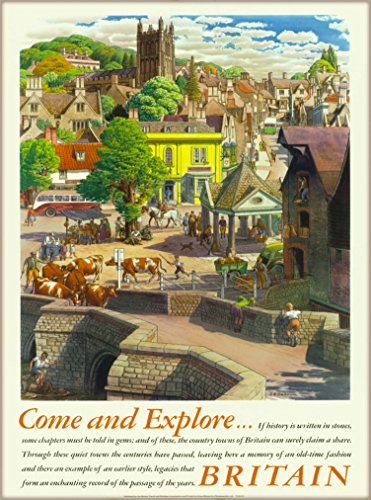 A SLICE IN TIME Come and Explore Great Britain England United Kingdom English Vintage Travel Home Collectible Wall Decor Advertisement Art Poster Print. Measures 10 x 13.5 inches