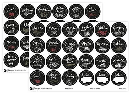 AVERY Zweckform Gewürzaufkleber 48 Stück Gewürzbeschriftung (Sticker auf A5 Bogen, Etiketten für Küche, Gewürze, Gewürzregal, Klebeetiketten ölabweisend abwischbar wasserfest) 54547