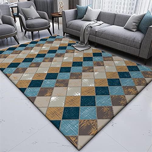 Alfombra Sofas de Salon Alfombra Alfombra de Sala de Estar con patrón de Cuadros geométricos Retro Gris Azul marrón decoración Dormitorio Alfombra de Pelo 60*90cm