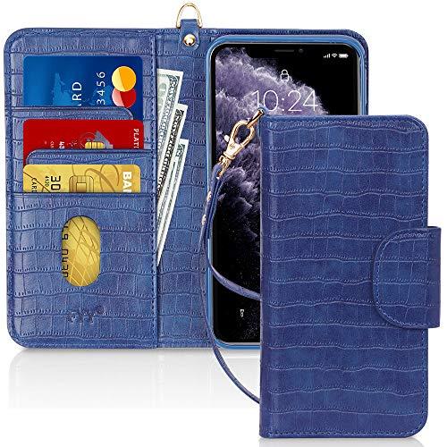 Capa de Celular FYY, Couro PU, Suporte, Compartimentos para Cartão, Bolso para Notas, Compatível com Iphone 11 - Azul