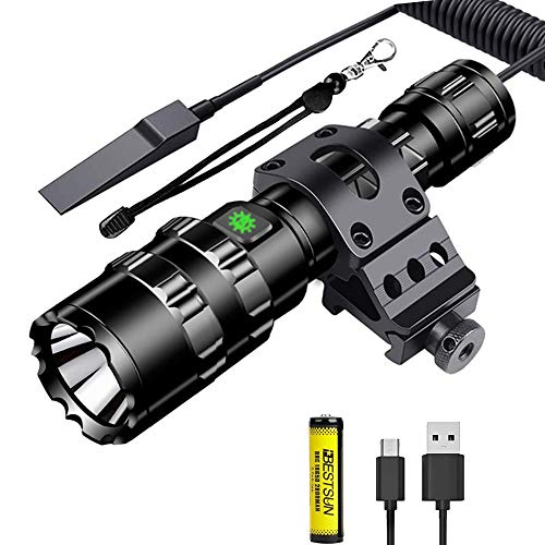 BESTSUN Tactical Flashlight, 1500 Lumen Super Bright LED Flashlight Rechargeable 5 Modes Weapon Light with Picatinny Offset Mount and Pressure Switch, USB Cable Rechargeable Battery Include