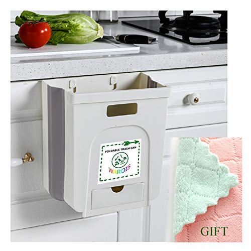 Upgrate Foldable Trash Can 9L Hanging Folding Garbage Bin with Waste Bag Pocket for Home & Portable Outdoor Collapsible Trash Bin (White)