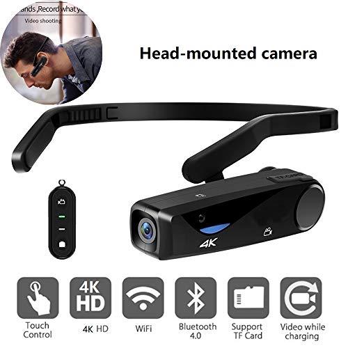 PUKEFNU Mini-Kamera Tätigkeits-Kamera 4K HD Wearable-Digitalkamera Mit WLAN Und Webcam Eigenschaften Mikrofon Bluetooth-Camcorder Videokamera APP Anti-Shake-Camcorder Musik Telefon,with Remote