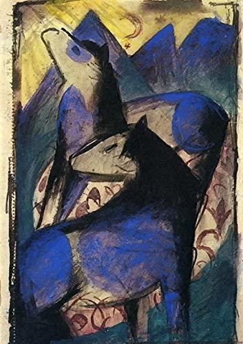 Caballo azul - Kits de pintura de diamante 5D DIY - Franz Marc - Bordado de punto de cruz Artesanía redonda completa Regalo artístico 30x40cm