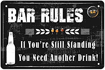 Vintage Design Bar Rules Tin Metal Wall Art Signs Poster Wall Decoration for Bar Be-er RulesDecor Bar Open Metal Tin Sign Bar Man Cave Funny Wall Decor 8 x12Inch