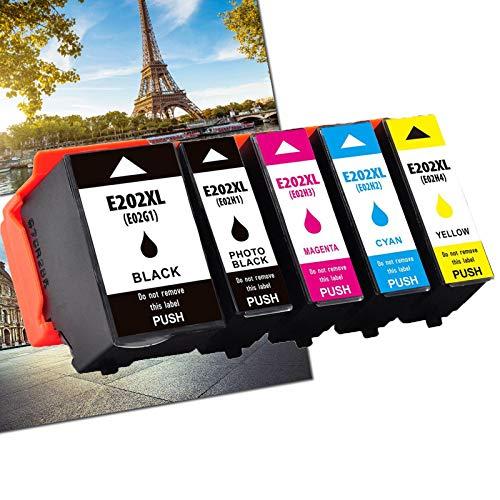Karl Aiken 202XL Sostituzione compatibile con per Epson 202XL 202 XL per stampante Epson Expression Premium XP-6000 XP-6005 XP-6001 Xp-6100 (1 nero 1 foto nero 1 ciano 1 magenta 1 giallo)