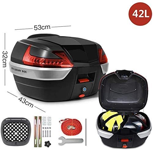 42L Moda Motocicleta Top Box Calidad PP Moto Vespa del tronco de la cola maleta trasera universal de almacenamiento (puede contener 2 cascos) rápido desmontaje, Color: Negro + rojo Prohibido fumar tro