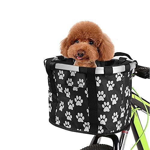 Cestino Anteriore Bici Staccabile Telaio in Lega di Alluminio, Borsa per Animali Domestici Durevole per Cani Gatto Borsetta per Il Ciclismo Picnic Shopping