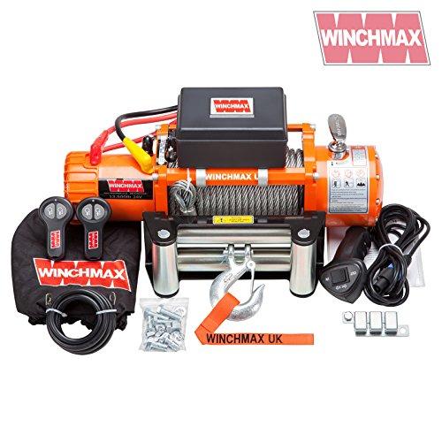WINCHMAX Elektrische Seilwinde (6,123 kg), Orange, 24 V, Stahlseil, kabellose Doppelfernbedienung