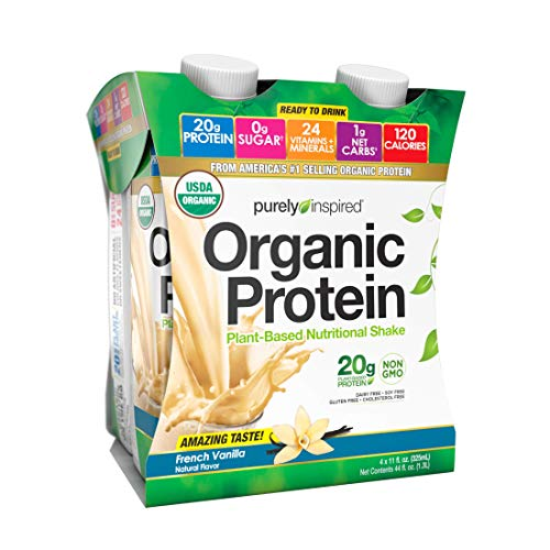 Protein Shakes Ready to Drink | Purely Inspired Organic Protein Shake | 20g of Plant Based Protein | Organic Protein Drink | Sports Nutrition RTD | French Vanilla 11 fl oz Pack of 12