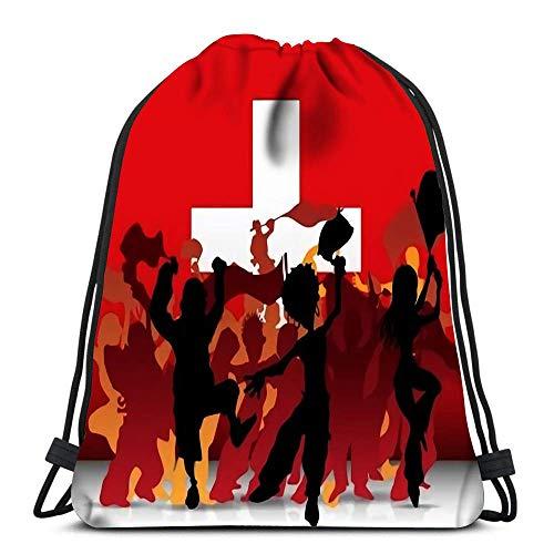 WH-CLA Unisex Drawstring Backpack,Schweiz Sport Fan Crowd Mit Flagge Sport Tunnelzug Gymsack Damen Herren Rucksack Beutel Tasche Verstellbar Kordelzug Rucksack Für Schule Schwimmen Reisen